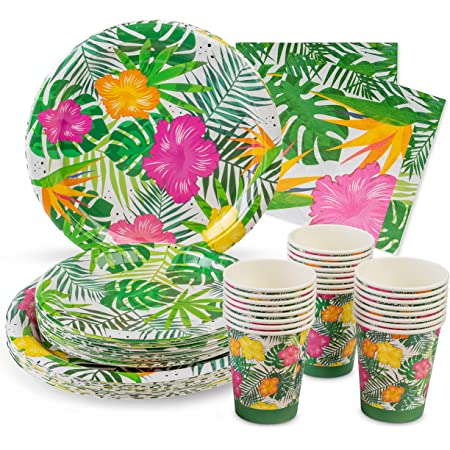 Royal Magnolia Tropical Party Supplies -Service for 24– Hawaiian Paper Plates (7 and 9 Inch), Paper Napkins and Party Cups - Disposable Luau Theme Dinnerware Set for Aloha Summer Birthday, Beach Party