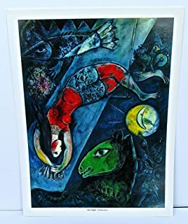 Marc Chagall Poster The Blue Circus 14x11 Offset Lithograph