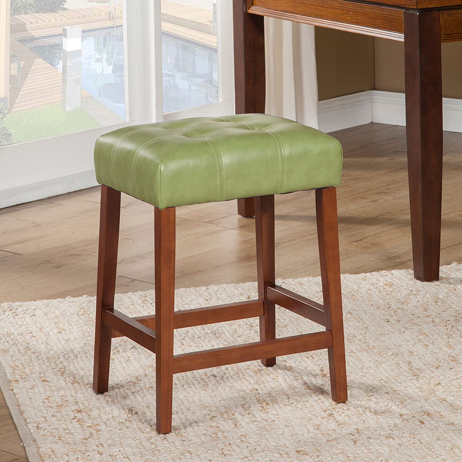 Kinfine Faux Leather Square Counter Stool, Moss Green