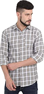 Asian & Fitch Men Casual Slim Fit Cotton Checkered Grey Shirt