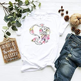 Disney Tangled Rapunzel Watercolor Floral Style Shirt, Disney shirt, Disney Villain Shirt, Vogue Princess T-Shirt, Disney Princess tshirt