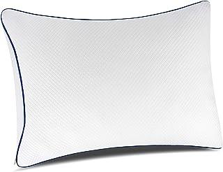 PillowLY Almohadas para Problemas cervicales de Espuma viscoelastica triturada para el Apoyo del Cuello y el Alivio del Dolor – 2 Zonas de Comodidad Cervical (Suave y Firme) Ajustables