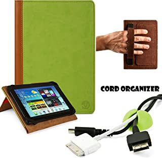 Executive Synthetic Lightweight Portfolio Book Style Cover for Acer Iconia W3 810 1600 8.1 inch Tablet (32 GB) Plus Green Cord Organizer