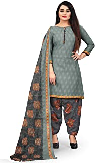 Rajnandini Women's Grey Cotton Abstract Printed Unstitched Salwar Suit Material