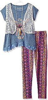Freestyle Revolution Girls' Big 3pc Mock Vest/Legging/Necklace Set