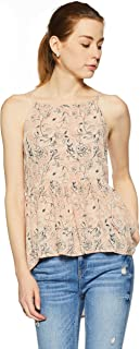 Flying Machine Women's Animal Print Regular Fit Vest Top (FWTO1046_Gossamer Pink_XS SL)