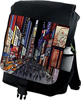 Cities Of States Backpack, Broadway Colorful, Durable All-Purpose Bag