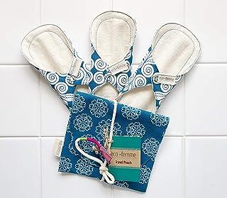 南インド「Eco Femme」布ナプキン (防水あり/肌面無漂白)軽い日用3枚+ポーチ