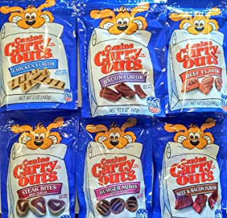 Canine Carry Outs Dog Snacks Variety Combo Bundle. Six 5 oz bags, One bag of each Flavor.