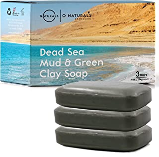 O Naturals 3-Piece Cleansing Green Clay & Dead Sea Mud Bar Soap. 100% Natural. Face, Hands & Body Wash. Exfoliating, Detoxifying, Pore Minimizer. Treats Acne & Oily Skin. Triple Milled, Vegan. 4 oz