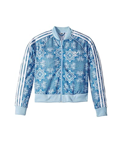 adidas Originals Kids Clear Sky Crop Superstar Track Jacket (Little Kids/Big Kids) (Clear Sky Print) Girl