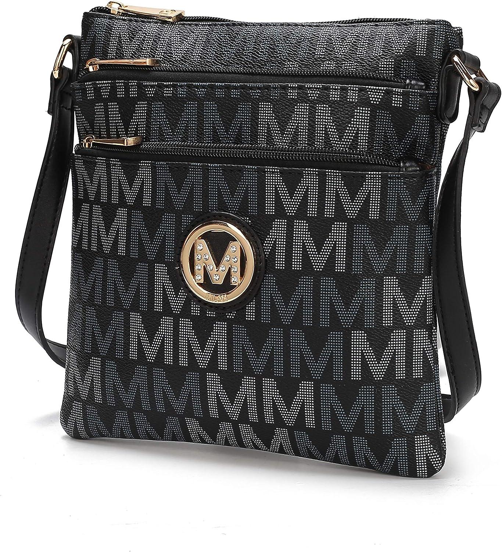 MKF Crossbody Bag for Women – PU Leather Triple Zip Messenger Handbag – Crossover Purse Pocketbook, Shoulder Strap