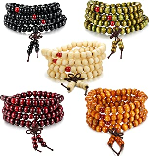 3-8 PCS Mens Womens Wood Necklace Chain Bracelets 108 Buddhist Strand Wood Prayer Beads Sandalwood Link Wrist