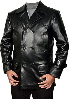 Men's German U-Boat Pea Coat Black - WWII Navy Cowhide Reefer Leather Jacket