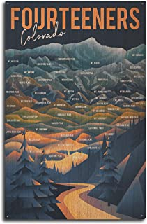 Colorado - Fourteeners - Mountain Range and Names 95240 (10x15 Wood Wall Sign, Wall Decor Ready to Hang)