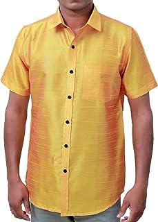 Black Martial Mens Martial Fit Golden Yellow Half Sleeve Silk Shirt