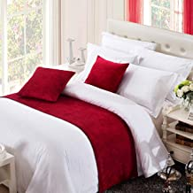 OSVINO Solid Color Chenille Soft No Fading Modern Bed Runner Bedding Scarf Protection, Red 240X50cm for 180cm Bed