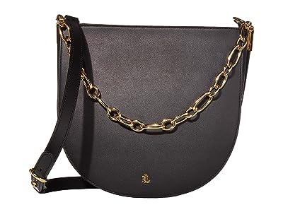 LAUREN Ralph Lauren Super Smooth Leather Sawyer 25 Shoulder Medium (Black) Handbags