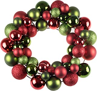 Clever Creations Christmas Ornament Wreath Bright Red & Green | Festive Holiday Décor | Classic Theme | Lightweight Shatter Resistant | Great for Indoor/Outdoor Use | 12