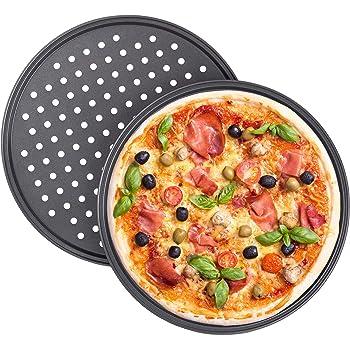 Relaxdays Juego de 2 Bandejas Pizza Horno Redondas, Antiadherentes y Perforadas, Acero al Carbono, Gris, ∅ 32 cm: Amazon.es: Hogar