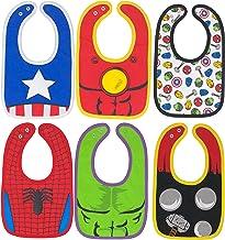Marvel Avengers Baby Boys' Bibs 6 Pack Spiderman Hulk Thor Iron Man Captain America