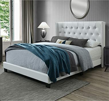 DG Casa Bardy Upholstered Panel Bed Frame with Diamond Tufted and Nailhead Trim Wingback Headboard, King Size in White Faux L