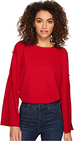 kensie - Dainty Crepe Top with Open Side Sleeves KSDK4364