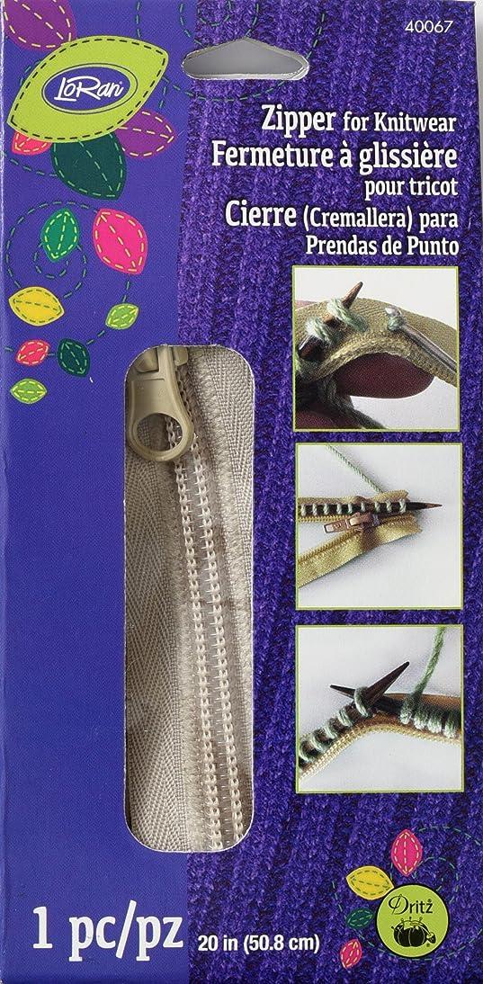 LoRan 40067 Zip Fastener for Knitwear, 20-Inch, Oatmeal
