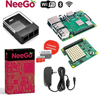 NeeGo Bundle – 5-Piece Build Your Own Computer Set Includes Raspberry Pi 3 B+ Motherboard, 32G SD Card w/Preloaded Noobs Operating System, Sense HAT Add-On, Hat Enclosure & 6-Foot 2.5A Power Supply