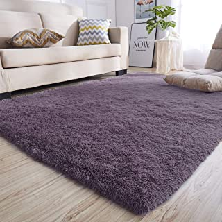 junovo Rectangle Ultra Soft Area Rugs Fluffy Carpets for Bedroom Living Room Shaggy Floor Rug Home Decor Mats, 5.3 x 7.5ft, Grey-Purple