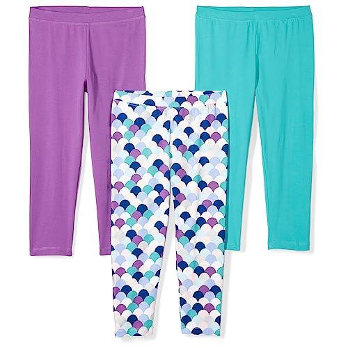 7f1575756c974 Amazon Brand - Spotted Zebra Girls' Toddler 3-Pack Capri Leggings, Mermaid,