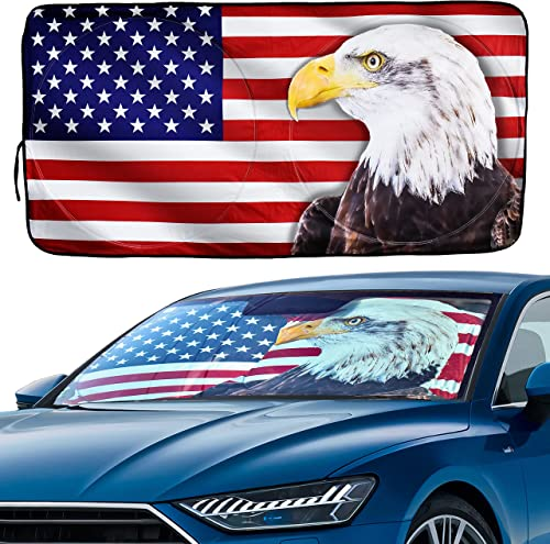 EcoNour Car Windshield Sun Shade with Storage Pouch | Durable 240T Polyester Material Printed American Flag Sun Visor for Car | Car Shade Front Windshield for Sun Heat | Medium (64 x 32 inches)