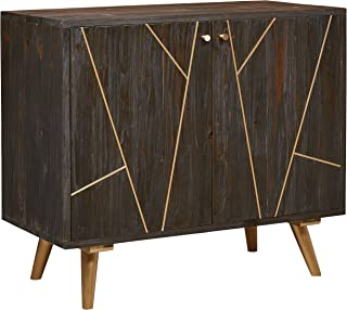 Rivet Modern Wood Buffet Bar Cabinet Credenza with Gold Accents, 35 Inch Height, Brown