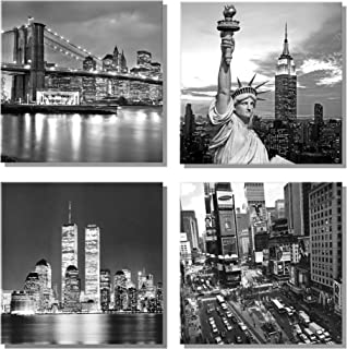 789Art - New York City Canvas Art Black and White Brooklyn Bridge Statue of Liberty Empire State Building Contemporary Decorations for Living Room Office Bedroom Home Decor(12