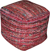 Christopher Knight Home Henrietta Red Fabric Pouf