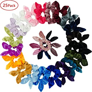 Simnice 25 Pack Hair Scrunchies Rabbit Bunny Ear Bow Bowknot Scrunchie Velvet Scrunchy Bobbles Elastic Hair Ties Bands Ponytail Holder
