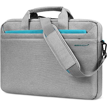 BRINCH 15.6 Inch Laptop Bag, Multi-Functional Laptop Case Bag with Handle Protective Carrying Case Business Shoulder Bag Compatible with MacBook Pro HP Dell Asus for Men Women,Light Gray