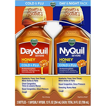 Vicks DayQuil & NyQuil Severe Honey, Cough, Cold & Flu Relief, Sore Throat, Fever, & Congestion Relief, Day & Night Relief, 12 FL Day & Night Pack