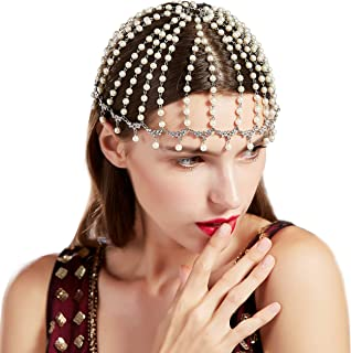 BABEYOND Vintage 1920s Crystal Flapper Cap Headpiece Roaring 20s Gatsby Pearl Rhinestone Flapper Cap Headpiece 1920s Gatsby Accessories (Style 3)