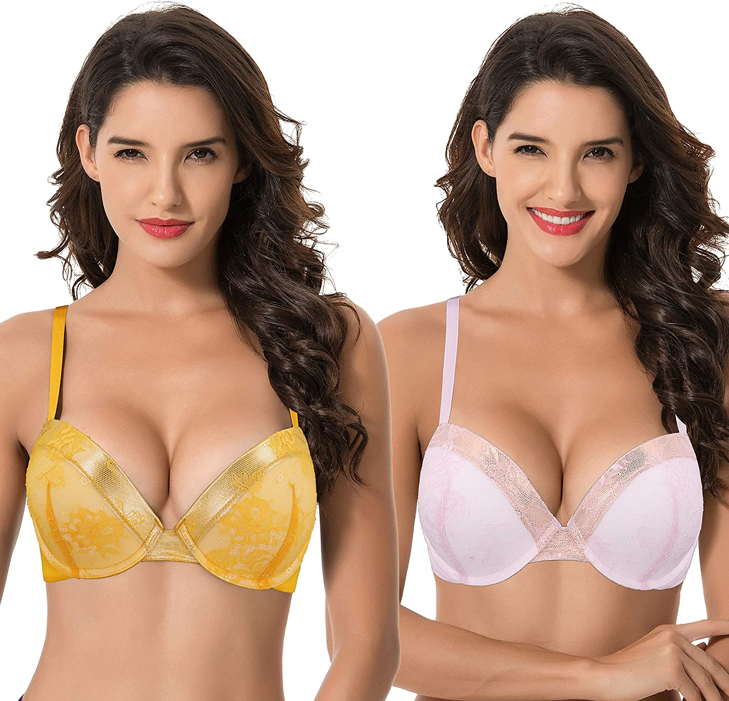 Curve Muse Women's Plus Size Max 66% OFF Beauty products Add 1 Half a Cup Push and Underw Up