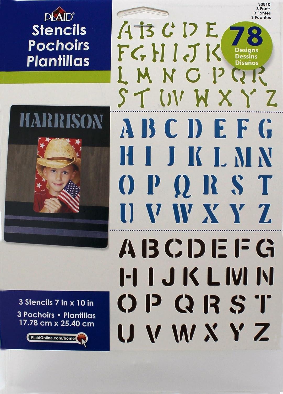 Plaid Enterprises, Inc. 30810E Plaid Stencil Value Pack, (3-Font)