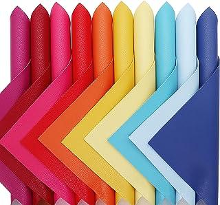 ZAIONE 10 pcs/Set Bright Color Pebble Grain Texture Faux Leather Sheets 8'' x 12'' A4 Mixed Bundle PU Lustrous Leatherette...