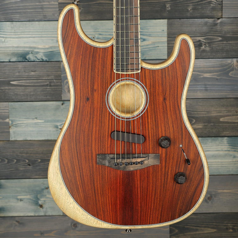 Fender American Acoustasonic 超激安特価 ショップ Stratocaster Guitar Ebony Acoustic