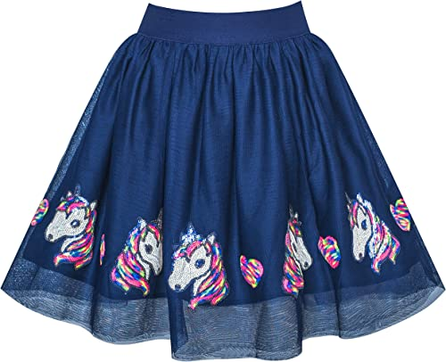 Sunny Fashion Filles Jupe Bleu Cœur Paillettes Pétillant Tutu Danse 2-12 Ans