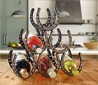 Attractive Rustic Brown Metal Horseshoe Wine Bottle Holder Western Style Home Decor Accent