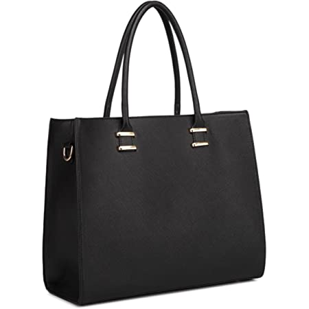 Miss Lulu Handbag Women For Work Shoulder Bag Faux Leather (Black)