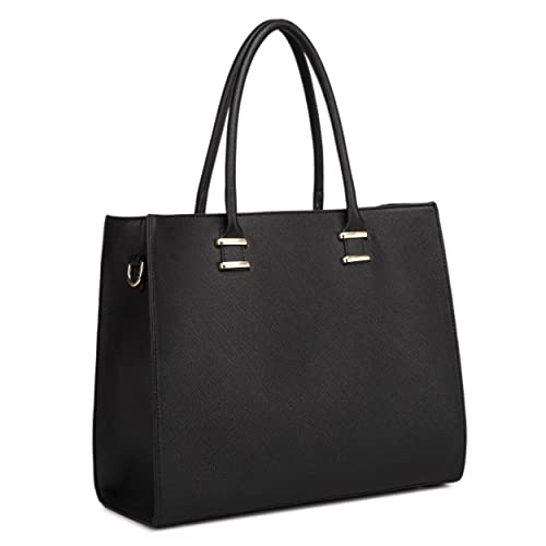 47b31ee814f Miss Lulu Women Adjustable Designer Shoulder Handbags Ladies A4 Size Laptop  Large Faux Leather Tote Bags