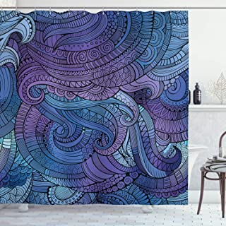 Ambesonne Abstract Shower Curtain, Ocean Inspired Graphic Paisley Swirled Hand Drawn Artwork Print, Cloth Fabric Bathroom Decor Set with Hooks, 70
