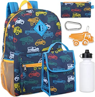 Boy's 6 in 1 Backpack Set With Lunch Bag, Pencil Case, Bottle, Keychain, Clip (Cars)