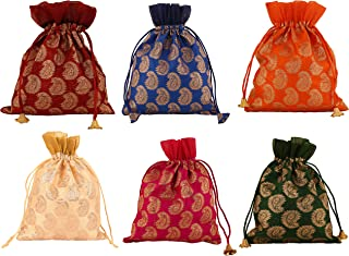 Touchstone New Gorgeous Indian Traditional Paisley Brocade Large Drawstring Purse Bag Pouch Potli for Gift Wedding Jewelry Packaging Bridal Party Favors Assorted Colors for Women